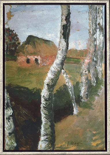 "Paula Modersohn-Becker: Bild ""Birkenweg"" (1900), gerahmt"