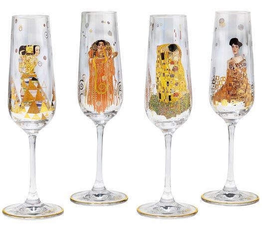 Gustav Klimt: 4-teiliges Sektgläser-Set