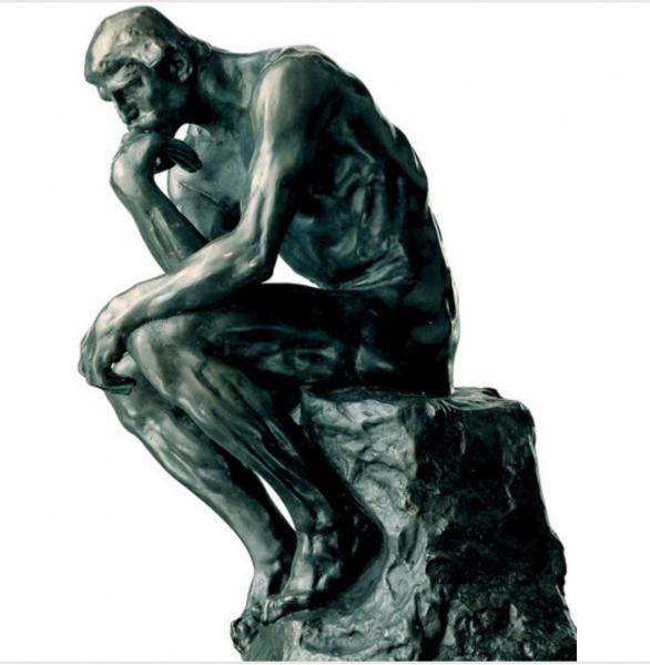 "Auguste Rodin: Skulptur ""Der Denker"" (26 cm), Kunstbronze"